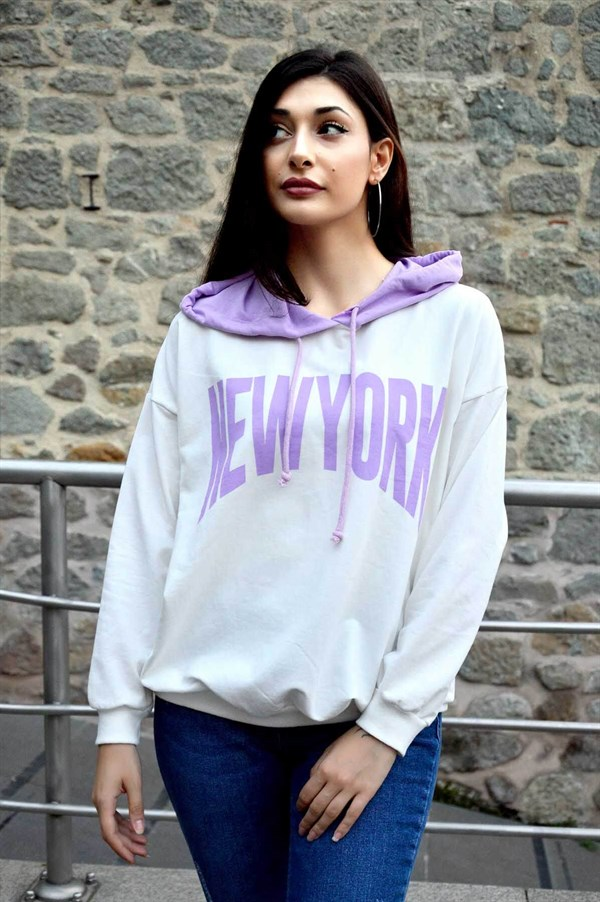 Ekru New York Baskılı Kapşonlu Sweat