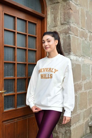Ekru Beli Lastikli Beverly Sweat