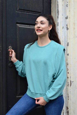Mint Yeşili Apoletli Beli Lastlikli Sweat