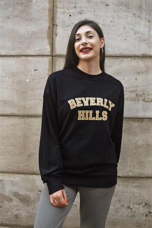 Siyah Beli Lastikli Beverly Sweat